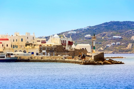 Mykonos, Greece white houses view from the sea in Cyclades
