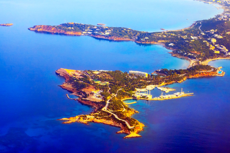 Aerial view of coastline of Athens, Greece shot from airplane