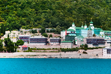 Russian St. Panteleimons Orthodox monastery at Mount Athos, Agion Oros, Holy Mountain, Halkidiki , Greece. View from the sea Imagens