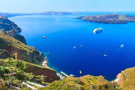 Caldera panoramic view, Santorini with donkey path and old port, volcano island in Greece Stock Photo