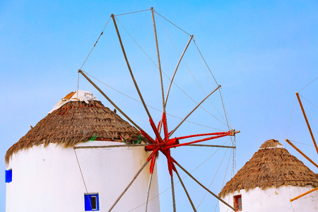 Mykonos, Greece, greek iconic windmill close-up background in famous island in Cyclades