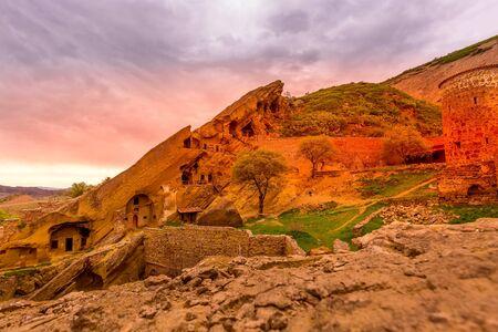 David Gareji or Garedja cave monastery in Georgia, Kakheti region, sunset view