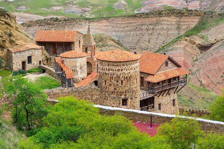 David Gareja or davit gareji cave monastery complex in Georgia, Kakheti region, aerial view