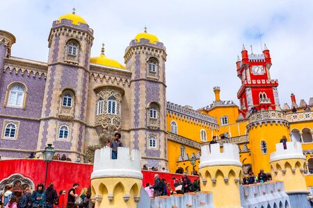 Sintra, Portugal - March 28, 2018: Famous portuguese landmark, Pena Palace or Palacio da Pena and people