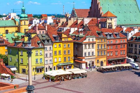 Warsaw, Poland colorful houses in Castle Square in the Old Town of polish capital aerial view