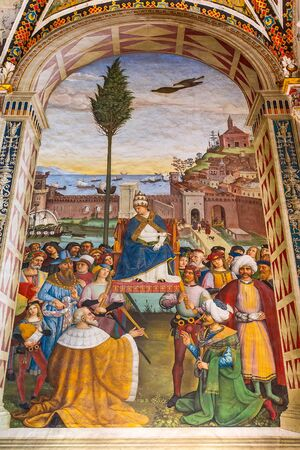 Siena Italy - October 25, 2018: Wall paintings in Siena Cathedral Duomo Piccolomini Library