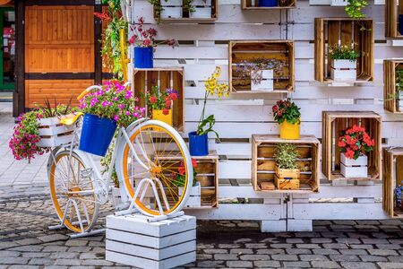 Wroclaw, Poland Old Town Rynek Market Square colorful bycicle and flowers decorations