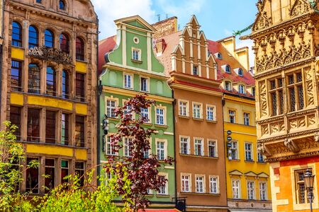 Wroclaw, Poland Old Town Rynek Market Square colorful houses Stock Photo