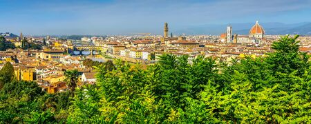 Florence, Italy aerial banner panoramic view of historical medieval buildings with Duomo Santa Maria Del Fiore and Ponte Vecchio