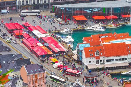 Bergen, Norway cityscape with downtown and fish market aerial view Imagens