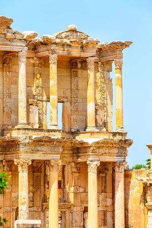 Celsus Library close-up details view in Ephesus, Efes, Turkey Stock Photo
