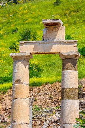 Close-up column details of ruins of Ephesus or Efes famous site in Turkey