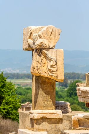 Close-up details of ruins of Ephesus or Efes famous site in Turkey