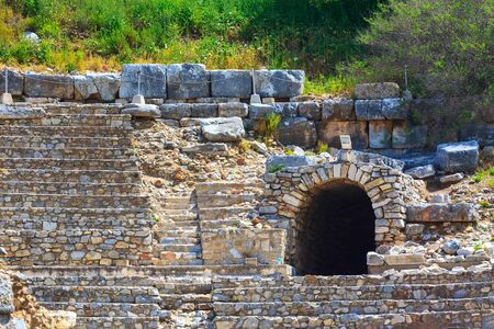 Close-up ruins of Ephesus or Efes amphitheatre, famous site in Turkey