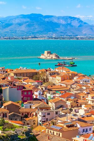 Nafplio or Nafplion, Greece, Peloponnese old town aerial panorama with sea and Bourtzi fortress