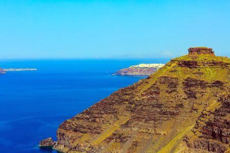 Santorini, Greece panorama banner of island Skaros rock and Oia village Reklamní fotografie