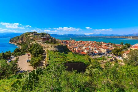 Nafplio or Nafplion, Greece, Peloponnese old town aerial panorama with sea and mountains