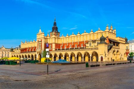Krakow, Poland Cloth Hall and main market square Rynek Glowny panorama