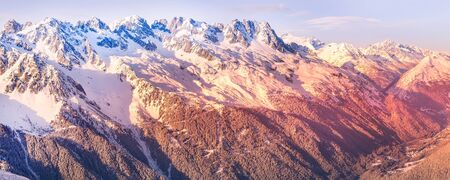 Chamonix Mont-Blanc french ski resort town sunset aerial view, France, French Alps mountains banner panorama Stok Fotoğraf