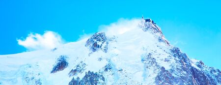 Banner panorama with mountain top station of the Aiguille du Midi in Chamonix mont blanc, France Stok Fotoğraf