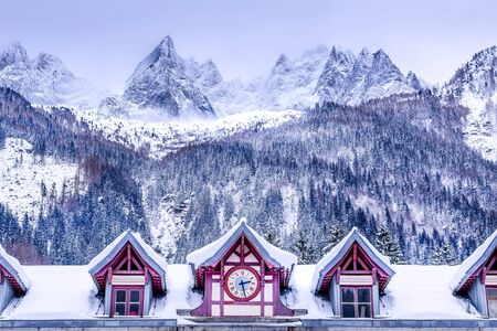 Chamonix Mont Blanc, France, facade of train station, French Alps and snow mountain peaks Reklamní fotografie