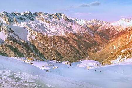 France, French Alps snow mountains panorama, Chamonix Mont-Blanc french ski resort town sunset aerial view