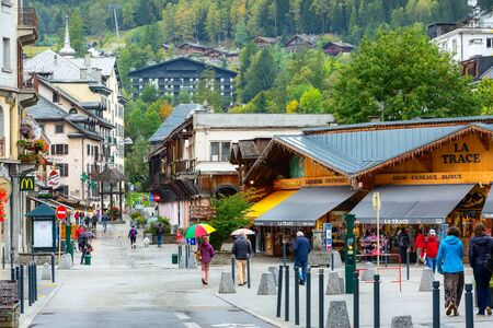 Chamonix Mont-Blanc, France - October 4, 2019: Street view in the center of famous ski resort in French Alps