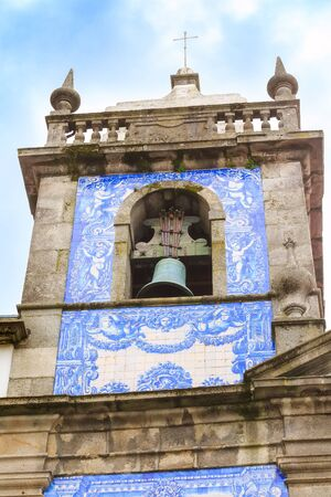 Porto, Portugal azulejo tile bell tower of the church close-up view Stock Photo