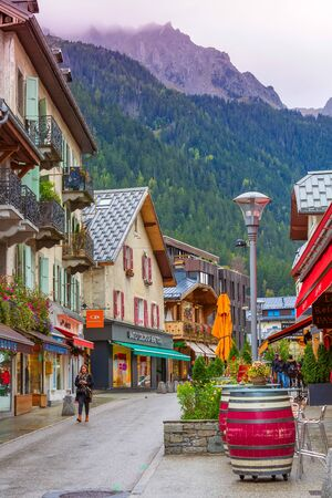 Chamonix Mont-Blanc, France - October 4, 2019: Street view in the center of famous resort and French Alps Redakční