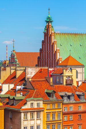 Warsaw, Poland colorful houses and towers in Castle Square in the Old Town of polish capital aerial view