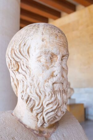 Athens, Greece - October 14, 2016: Ancient bust of Herodotus in stoa of Attalos, Athens, Greece close-up