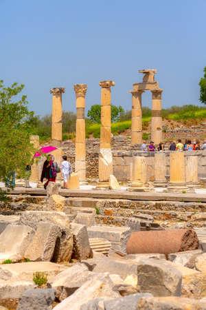 Kusadasi, Turkey - April 28, 2019: People visiting old ruins of Ephesus or Efes famous site Editorial