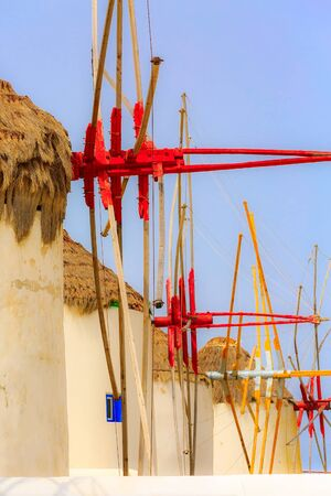 Mykonos, Greece Greek iconic windmills row, close-up background famous island in Cyclades