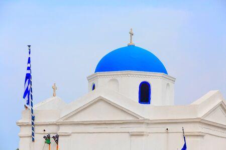 Traditional greek church dome in Mykonos island, Greece
