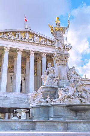 Vienna, Austria, statue and fountain of Pallas Athena, Parliament building in austrian capital