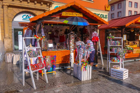 Wroclaw, Poland - June 21, 2019: Stalls with traditional goods near Market Square and people Editorial
