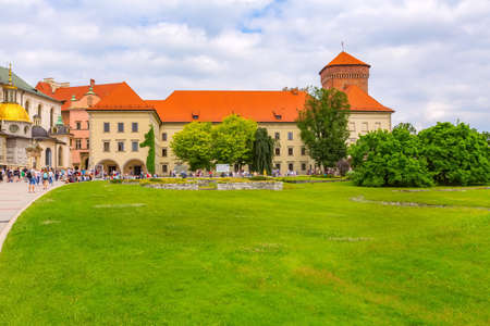 Krakow, Poland -June 18, 2019: Wawel Royal Castle colorful view and people Editorial