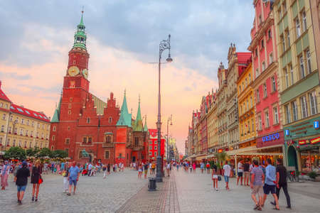 Wroclaw, Poland - June 21, 2019: Old City Hall with clock tower on the Market Rynek Square Editorial