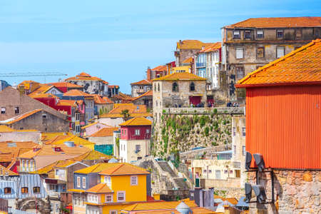 Porto, Portugal -April 1, 2018: Old town view with colorful traditional houses Editorial