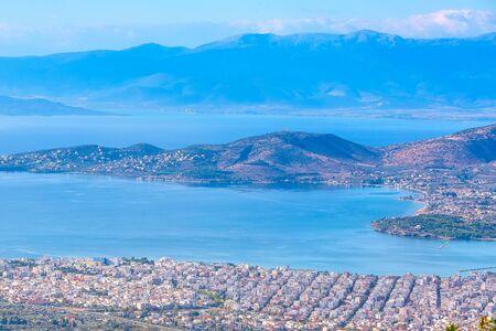 Volos city and sea gulf aerial view from Makrinitsa, Pelion mount, Greece Stock Photo