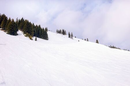 Winter ski slope landscape with pine trees covered with snow, Saalbach-Hinterglemm, Austria Banco de Imagens