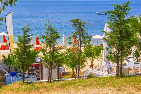 Green trees, beach with umbrellas and the blue sea, Halkidiki, Greece