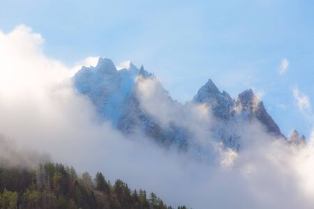 French Alps, Europe, fantastic snow mountain peaks landscape background