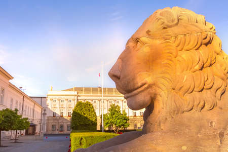 Lion sculpture in front of President Palace in Warsaw, Poland. Warszawa old town Editorial