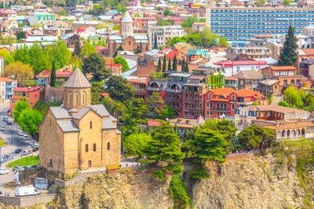 Tbilisi, Republic of Georgia - April 29, 2017: Panoramic skyline with Metekhi church