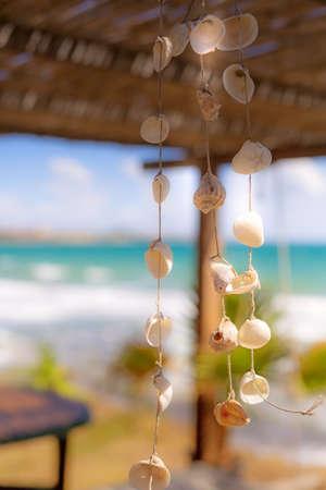 Nautical style hanging seashells decoration, summertime sea vacation background