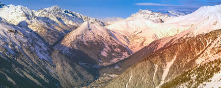 Chamonix Mont-Blanc french ski resort town sunset aerial view, France, French Alps mountains banner panorama Stock Photo