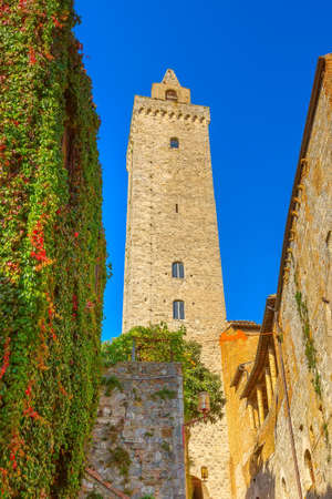 San Gimignano, Tuscany, Italy old medeival tower in typical Tuscan town, popular tourist destination