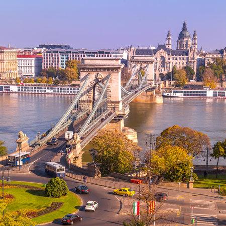 Budapest, Hungary panorama with Chain Bridge over Danube River