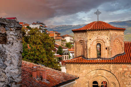 Ohrid, North Macedonia sunset view of the old orthodox church of Saint Sophia Standard-Bild